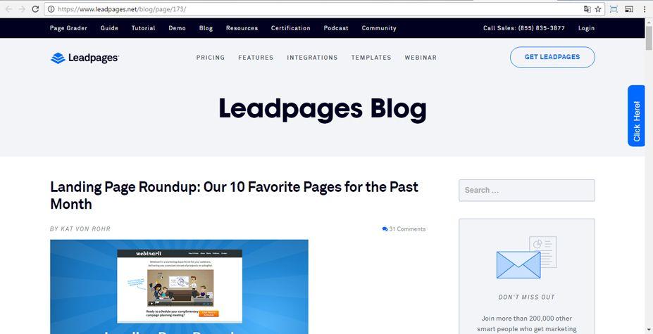 Selecciona una Landing Page desde el Blog de LeadPages