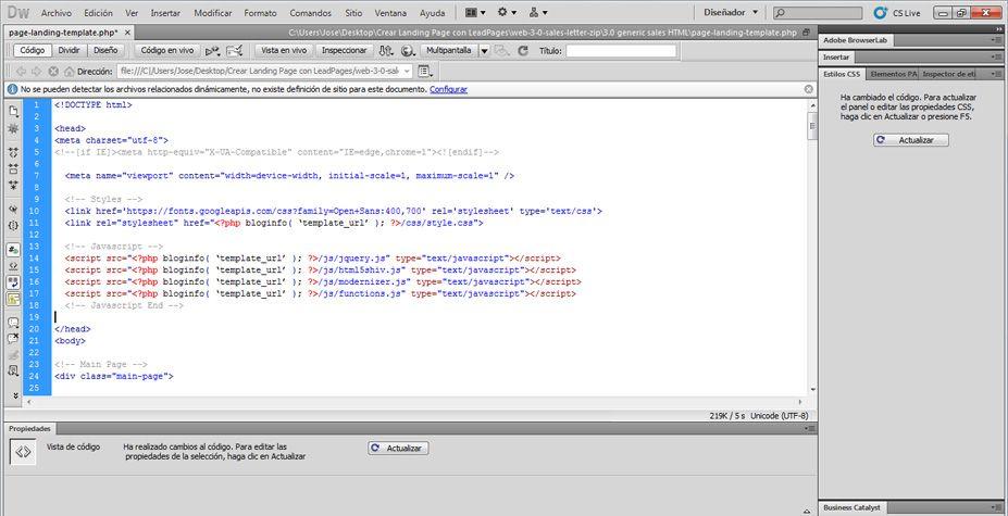 Agregar el código al archivo PHP