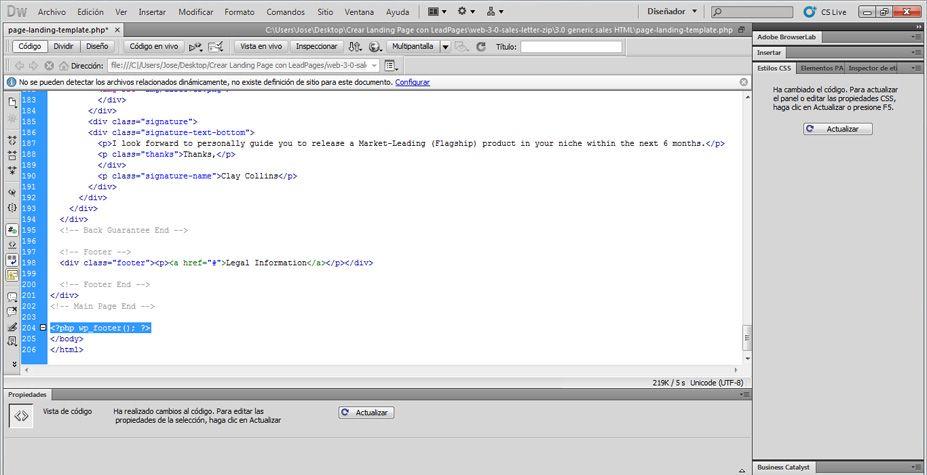 Agregar más código al archivo PHP