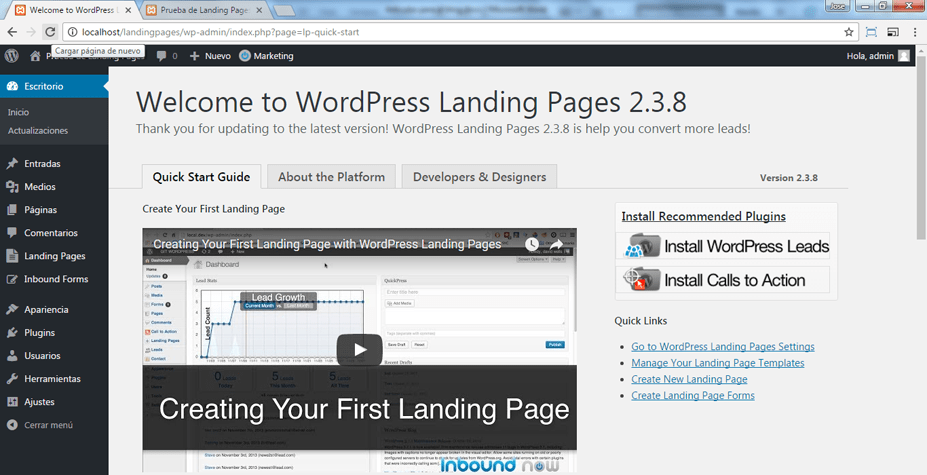 Instalar el plugin WordPress Landing Pages