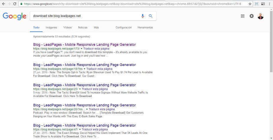 Descargar una Landing Page desde la web LeadPages