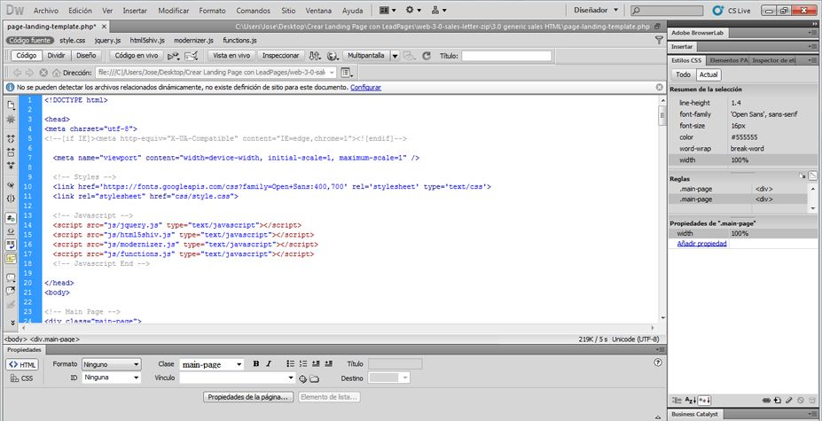 Editar el archivo PHP