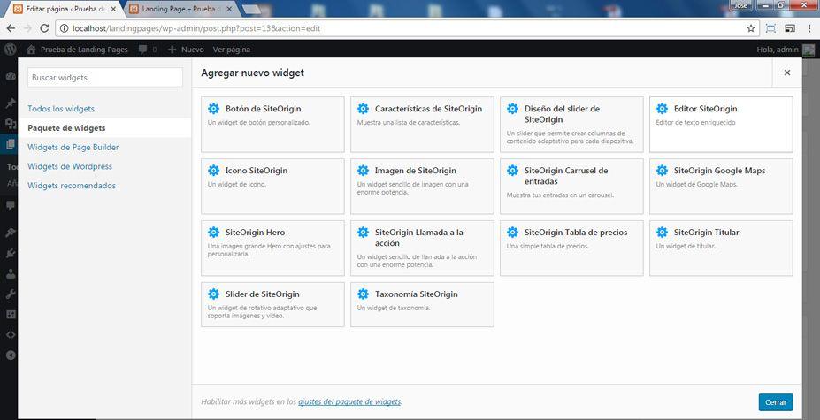 Agregar el widget simple llamado SiteOrigin Editor