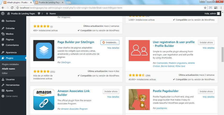 Descargar Page Builder por Siteorigin