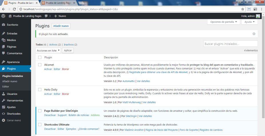 Activar Page Builder por Siteorigin