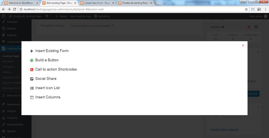 Insertar el formulario en la Landing Page