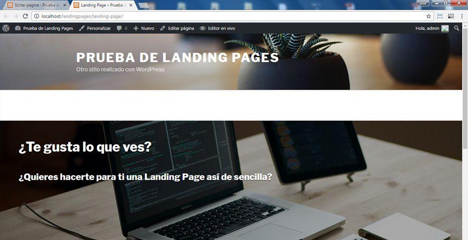 Vista previa de la Landing Page