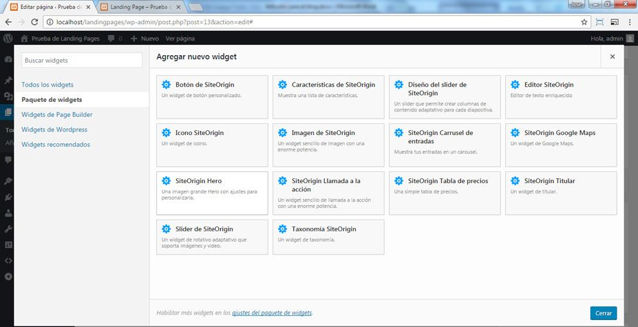 Elegir el Widget SiteOrigin Hero