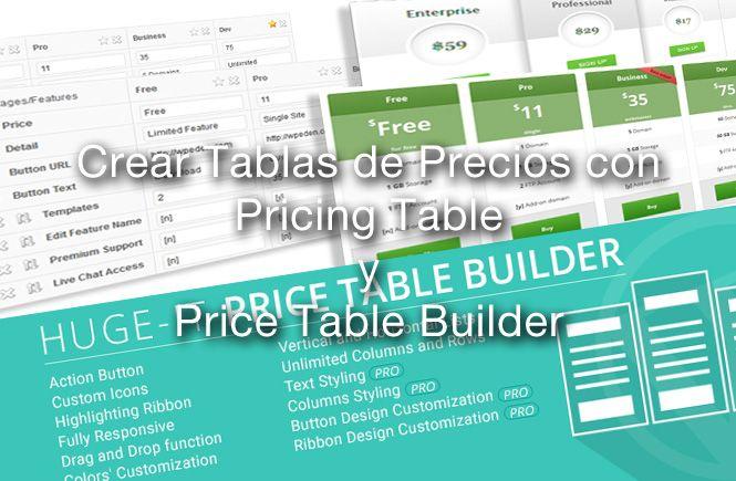 Crear tablas de precios