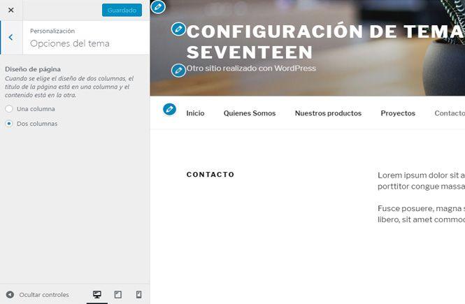 Cómo configurar el tema twenty seventeen correctamente