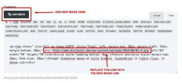 text module image link