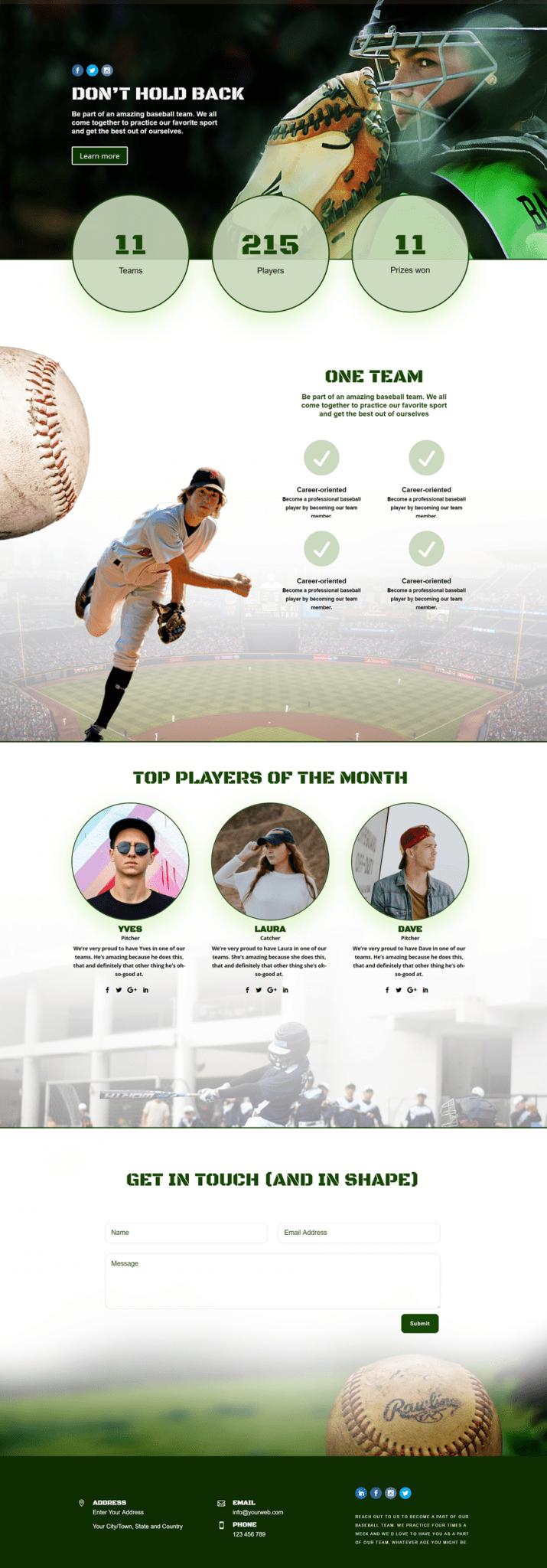 crear con divi una web para un equipo de beisbol