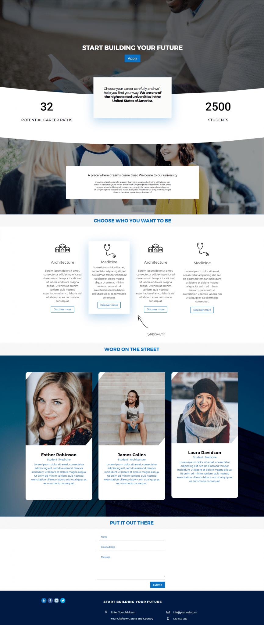 Crear una web para un colegio o una universidad con divi