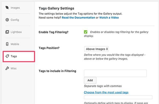 Activar la opcion de filtrado para la galeria