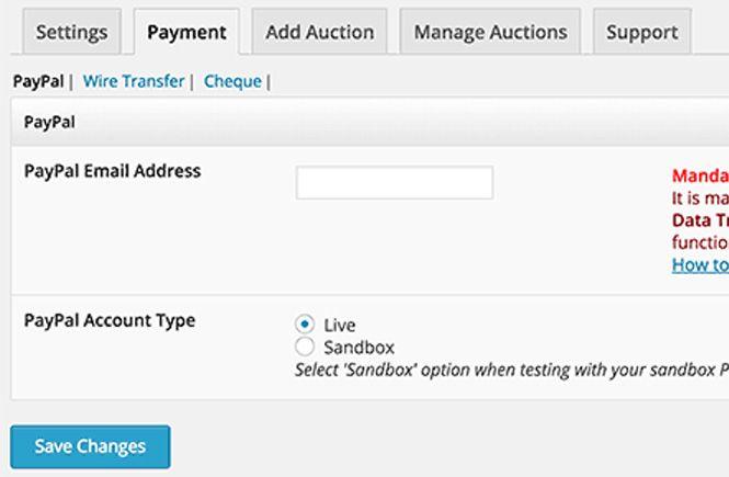 Método de pago para la web de subastas