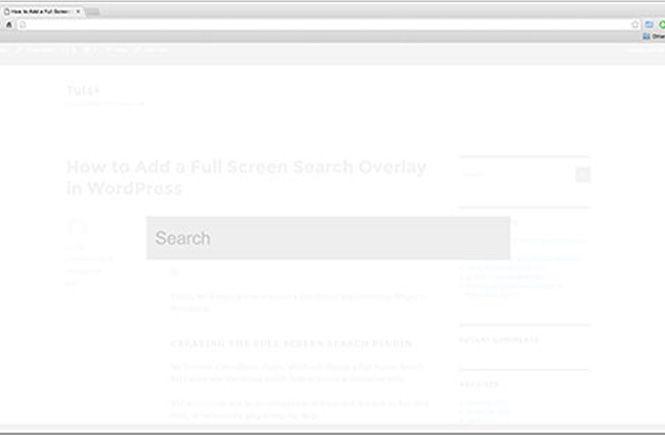 Pantalla de búsqueda superpuesta y a pantalla completa
