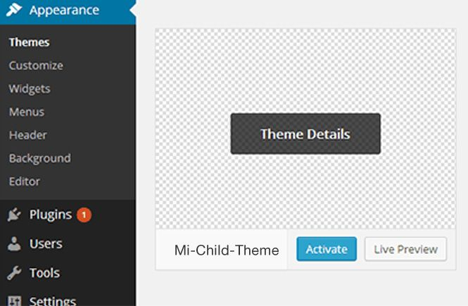 Vista previa de nuestro Child Theme