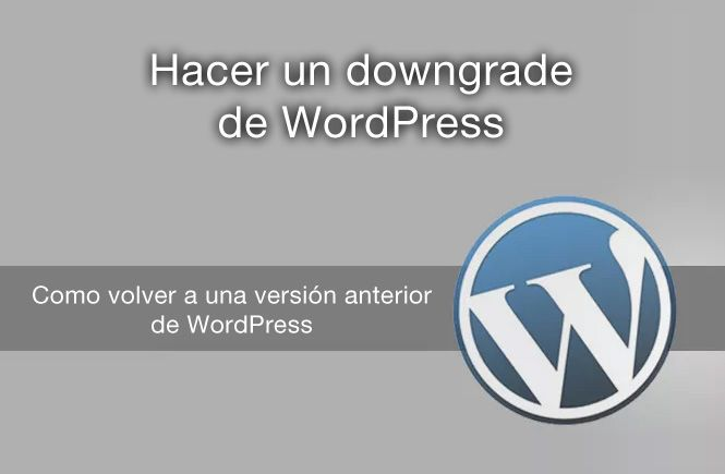 Hacer un downgrade a tu WordPress