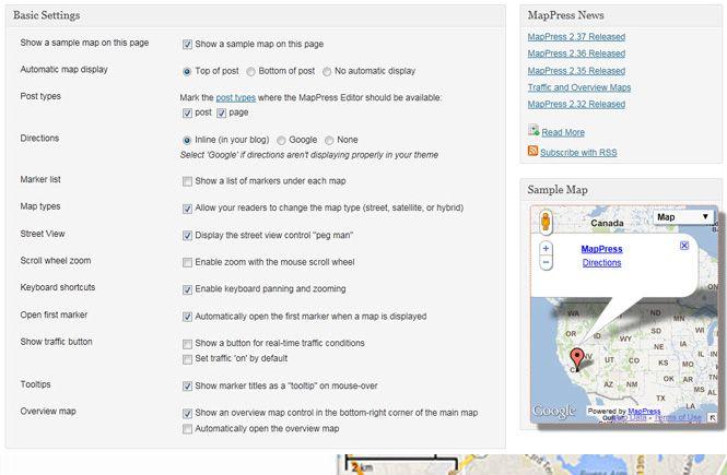 opciones básicas de MapPress