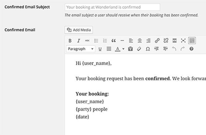 Plantilla de email de las reservas