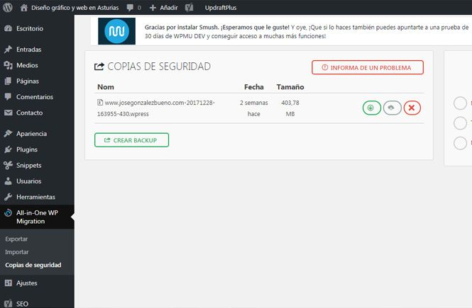 Copias de seguridad con All-in-One Migration