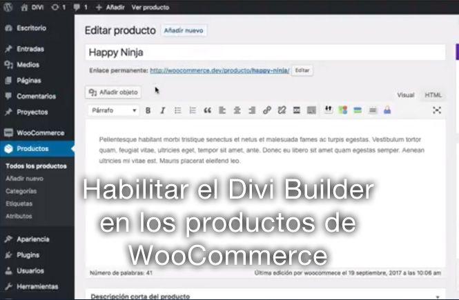 Maquetar productos de Woocommerce con Divi Bluider