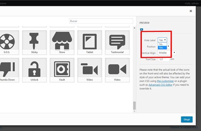 Insertar iconos en el menu de las Redes Sociales
