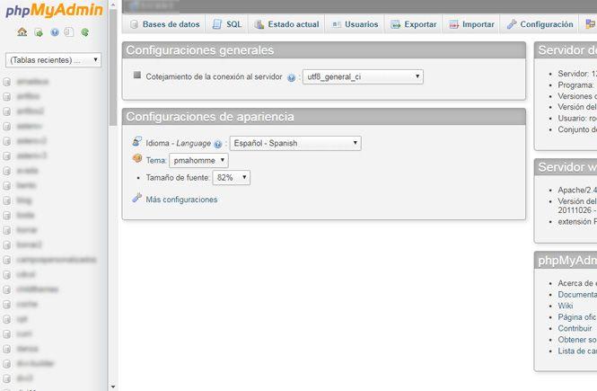 PhpMyAdmin para activar un tema desde la base de datos