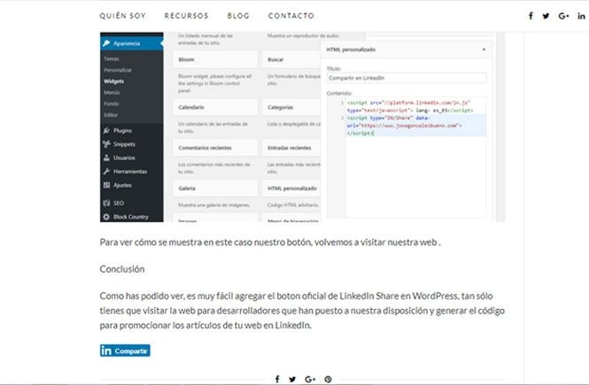 Agregar el boton oficial de LinkedIn Share en WordPress al final de nuestros artículos