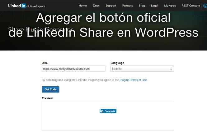 Agregar el boton oficial de LinkedIn Share en WordPress