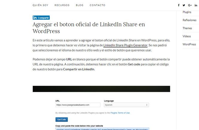 boton oficial de LinkedIn Share en WordPress