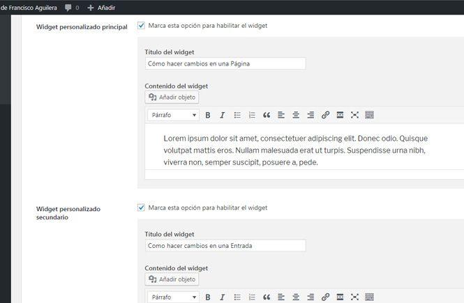Crear widgets personalizados