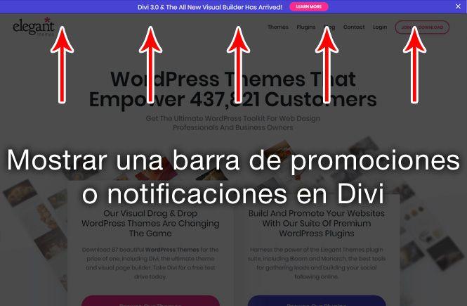 Mostrar una barra de promociones en Divi