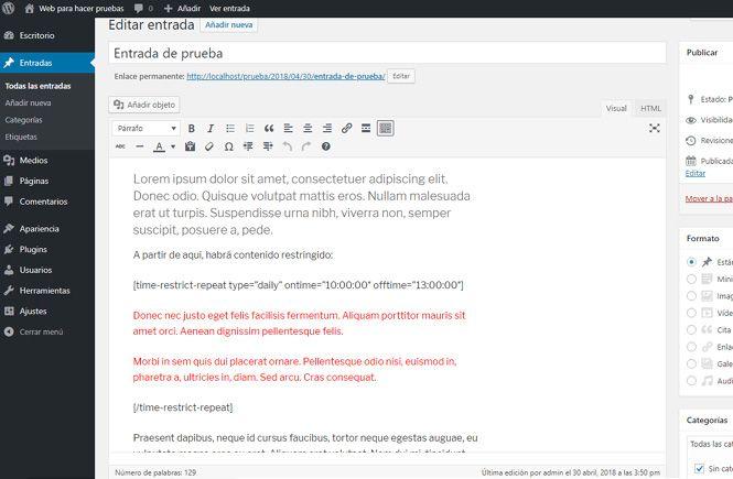 esconder cierto contenido en WordPress con Show/Hide Content at Set Time