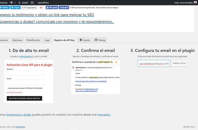 Introducir el correo electrónico en el plugin