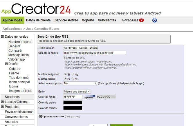 Página de Inicio de App Creatror 24