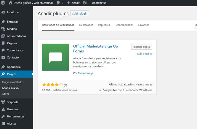 Instalar y activar el plugin Official MailerLite Sign Up Forms