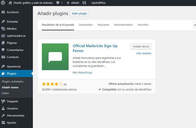 Instalar y activar el plugin Official MailerLite Sign Up Forms