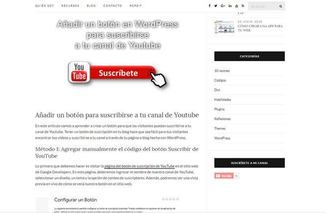 Vista previa del botón suscribirse a tu canal de Youtube