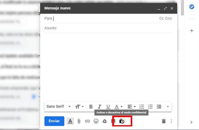 Crear un correo electrónico utilizando el nuevo modo confidencial en Gmail