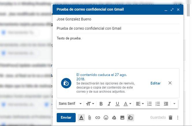 Enviar el correo confidencial
