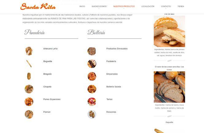 Menú panadería Santa Rita