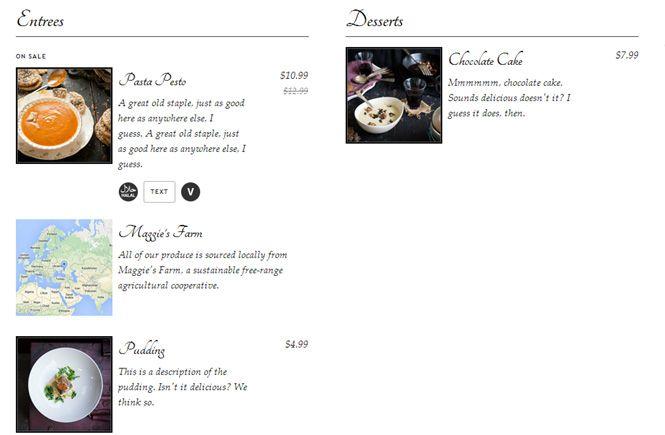 Plugin Food and Drink menu
