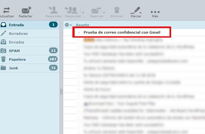 Recepción del correo confidencial