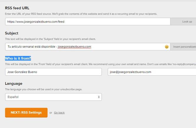 Rellenar los datos del correo de tu campaña