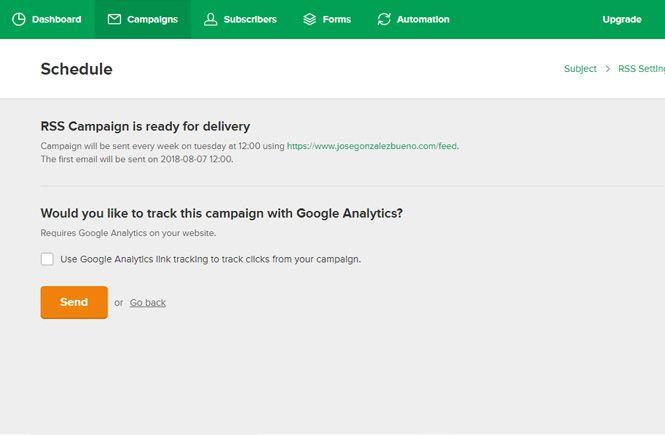 Terminar la campaña y enviar