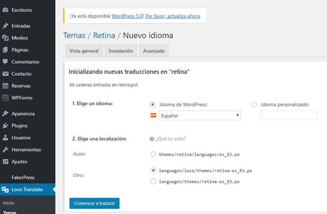 Crear el idioma para traducir Themes y Plugins en WordPress