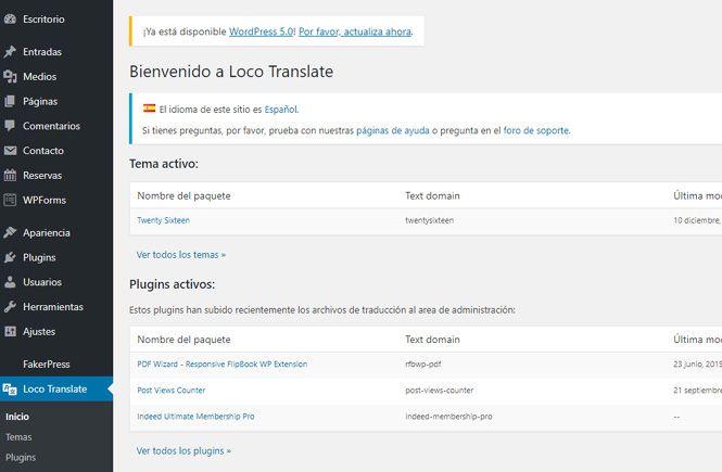 Pantalla de bienvenida de Loco Translate