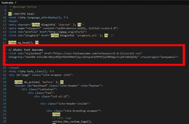Añadir el cdn de Font Awesome al header.php
