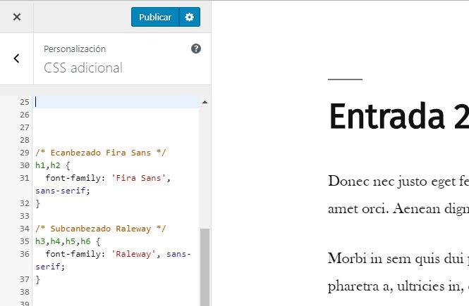 Crear el CSS para añadir las fuentes